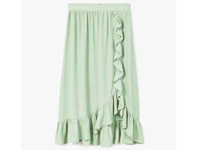 Green ruffled skirt available at Mango