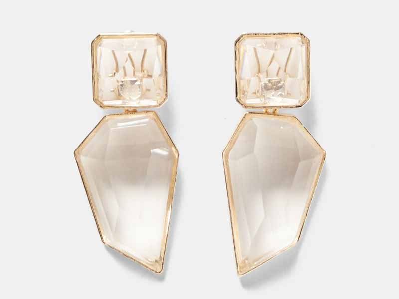 Clear stone earrings, Zara UAE